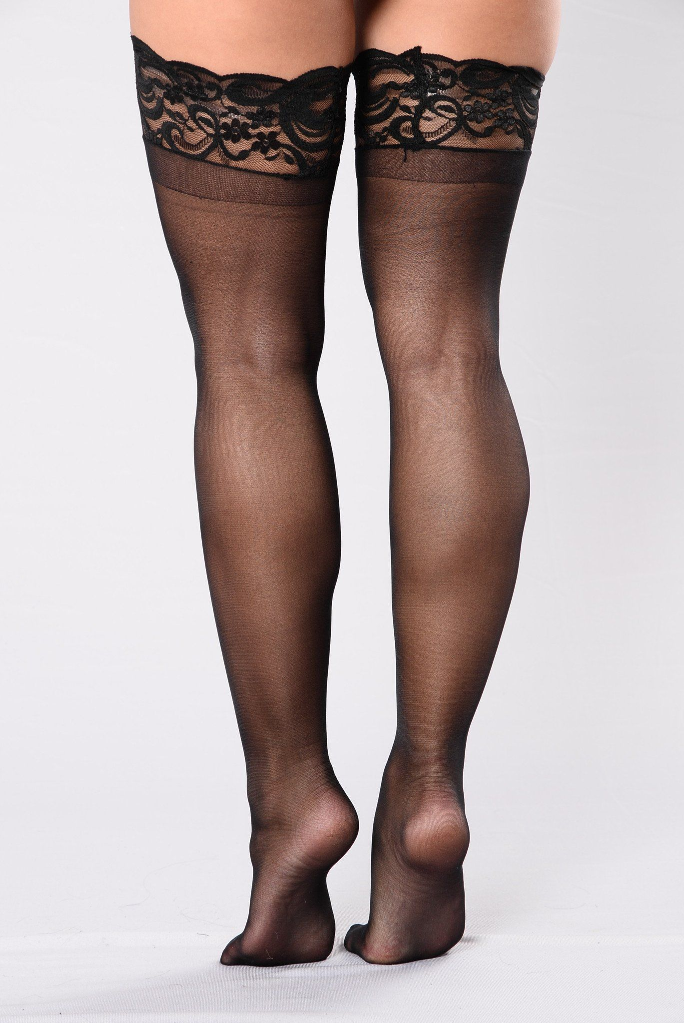 d7626b6be0e Sheer Thigh High Lace Top Stocking - Black | Clothes | Thigh highs ...