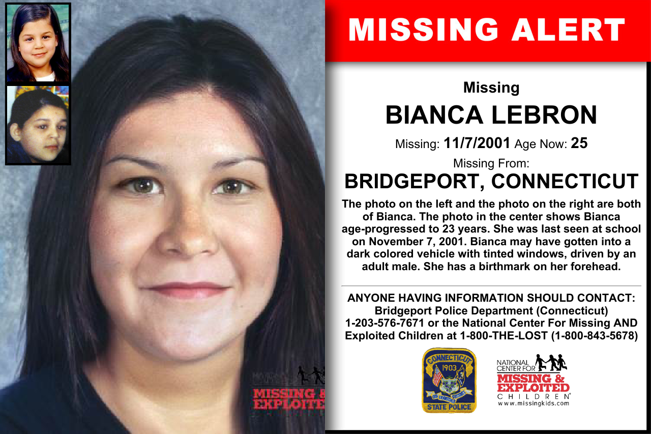 BIANCA LEBRON, Age Now: 25, Missing: 11/07/2001  Missing