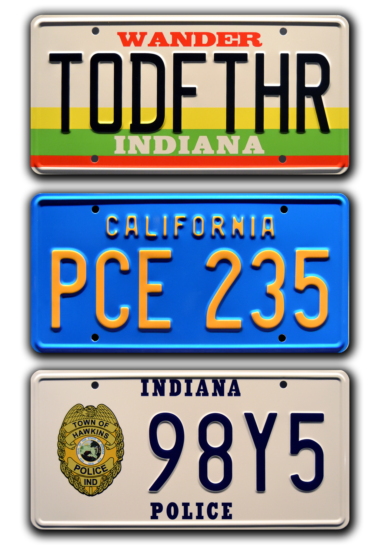 Stranger Things Three Plate Combo In 2020 Stranger Things License Plate Indiana Police