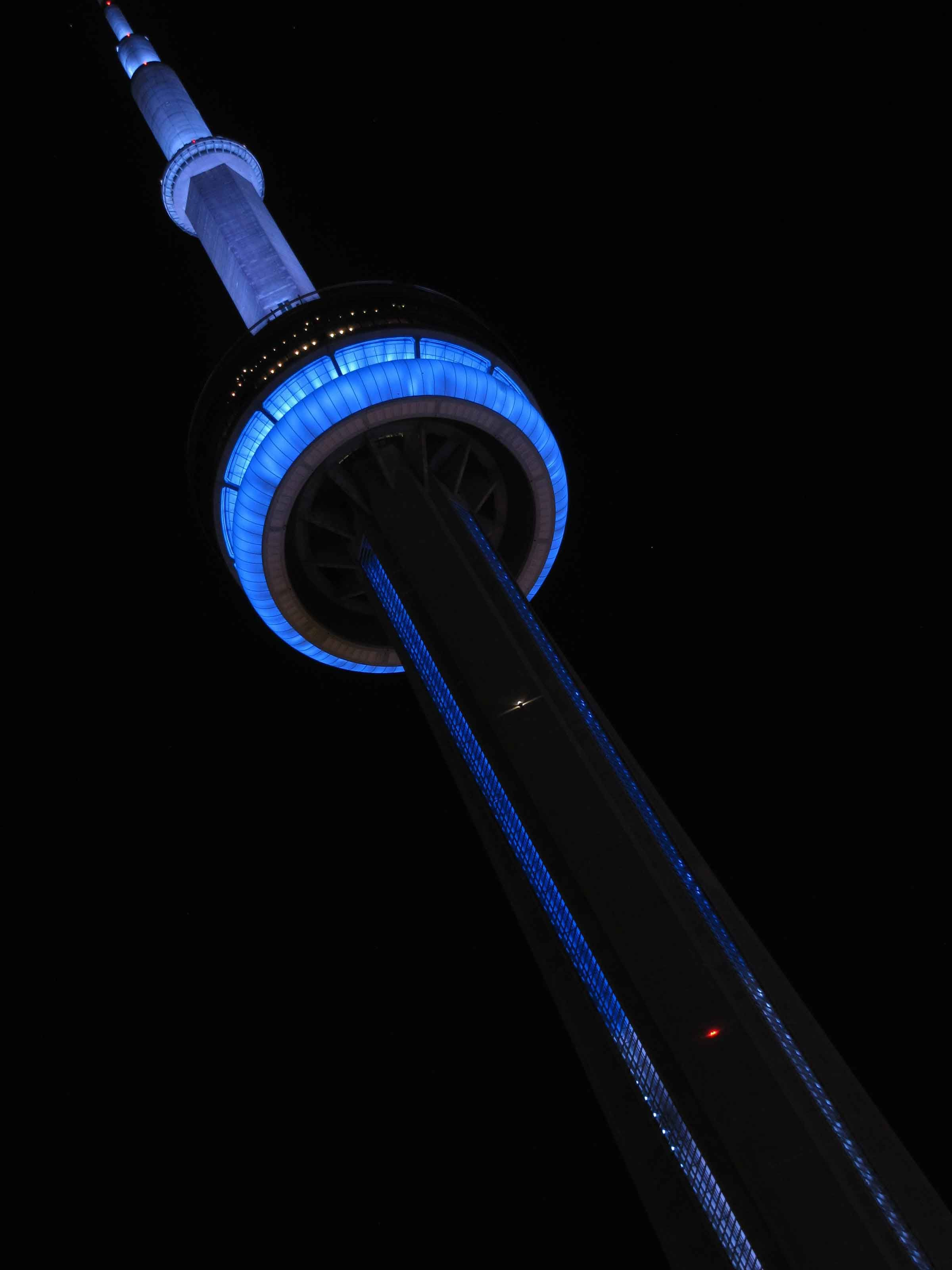 CN Tower lit up Toronto Maple Leafs blue