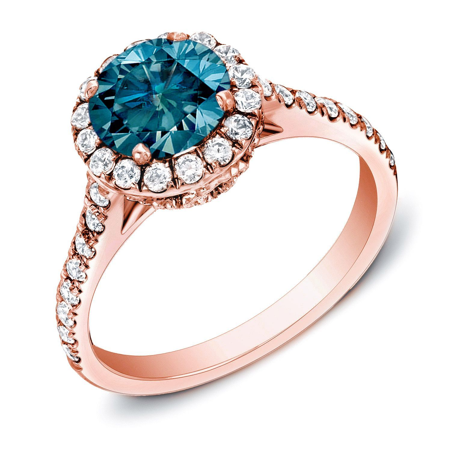 liRoundcut blue diamond halo engagement ringli li14karat