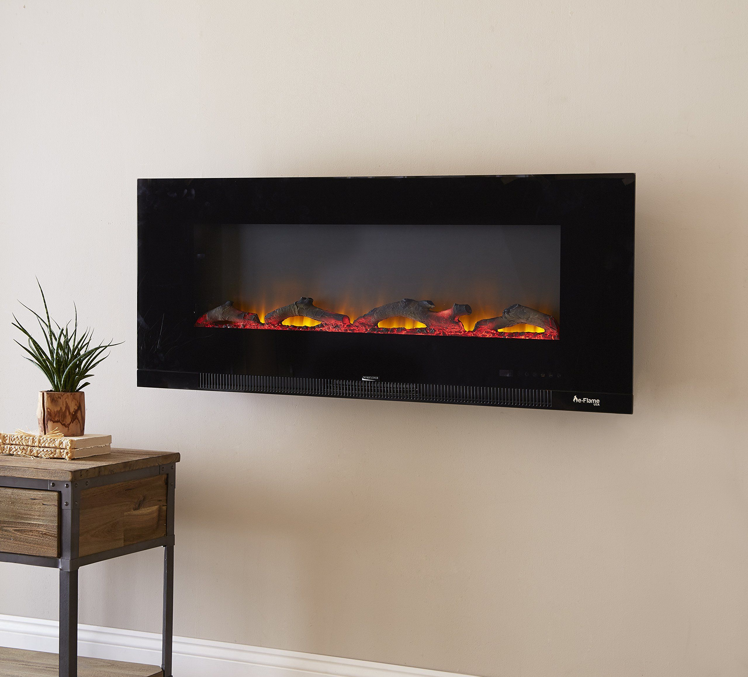 Livingston Wall Mount Electric Fireplace By Eflame Usa 50inch Wide