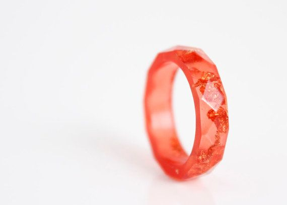 size 5.5 red and gold resin ring | thin multifaceted eco resin band ring | featuring gold leaf flakes