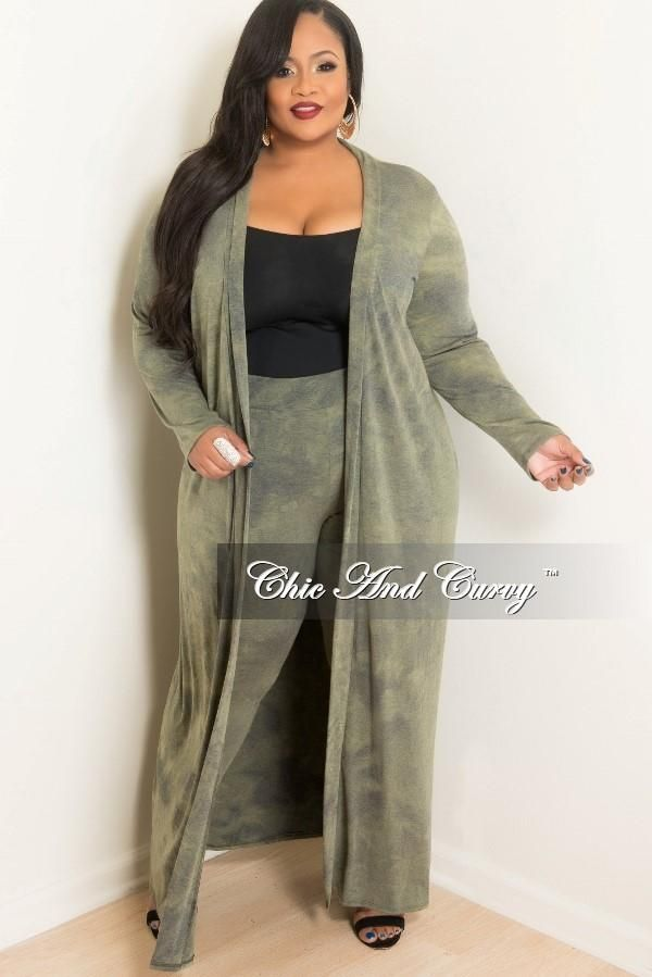3d01eb2cf48 Final Sale Plus Size 2-Piece Duster and Pants Set in Olive in 2019 ...