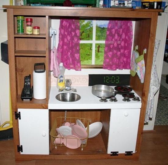 25 ideas recycling furniture for diy kids play kitchen designs rx rh pinterest com