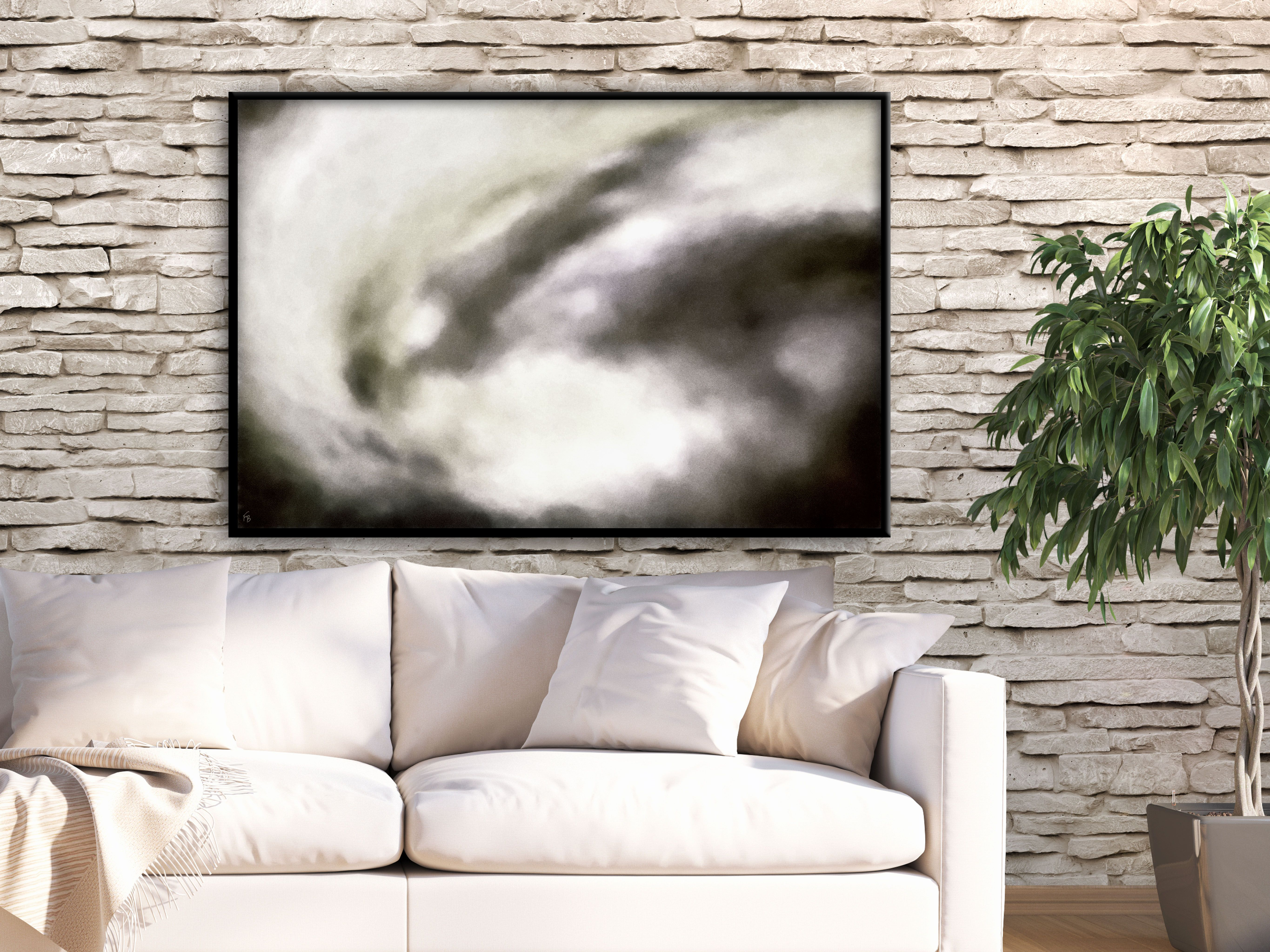 living room art prints%0A Gray modern abstract print by FraBor Art