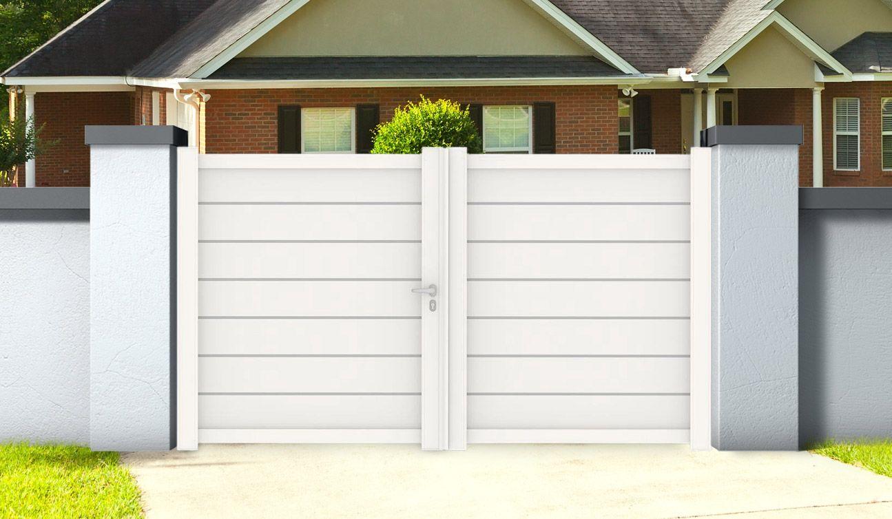 Portail Aluminium Battant L 4m X H 1 7m Zirconium Blanc Portail Aluminium Portail Coulissant Portail