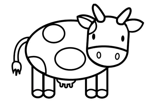 Puppy Bark In Front Of Cows Coloring Pages Kids Play Color Cow Coloring Pages Animal Coloring Pages Cartoon Cow