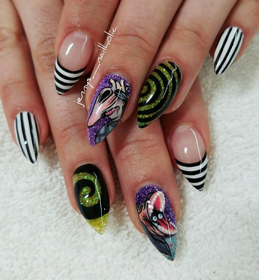 13 Ghostly Beetlejuice Nail Art Designs - Nails Magazine | uñas más ...