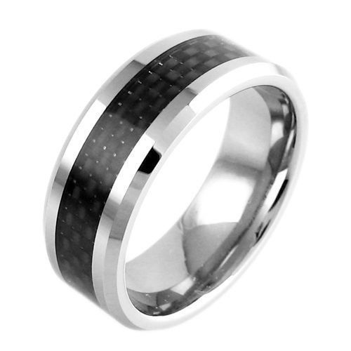 Luminous Silver Tungsten Ring with Sublime Black Graphite Carbon