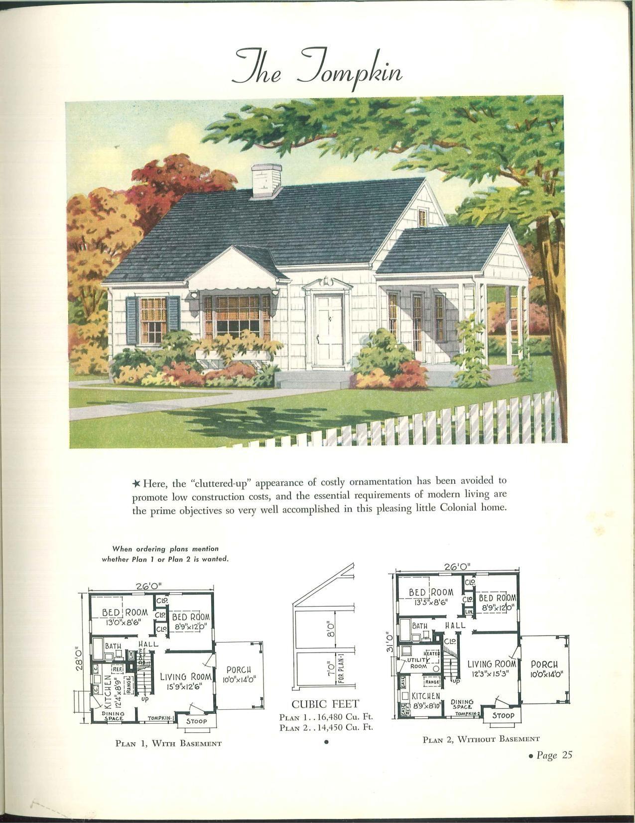 Wahlfeld 1942 Vintage House Architectural Prints