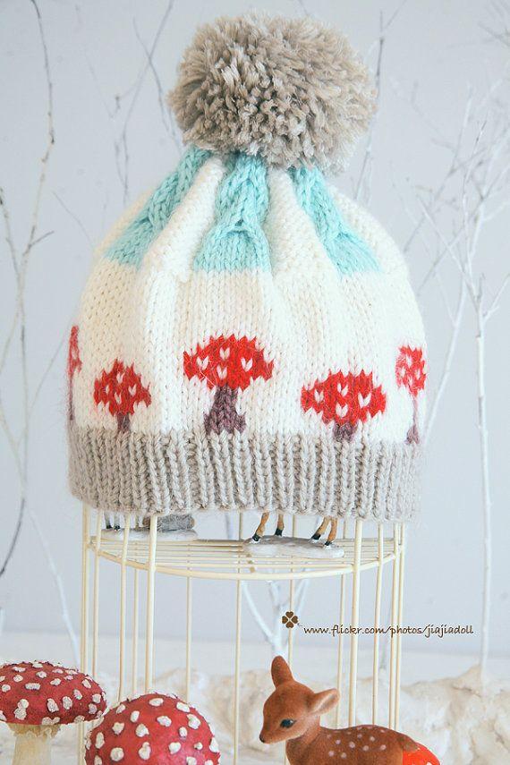Jiajia Doll-Hand Knit red mushroom twist pompom hat - colorwork and ...