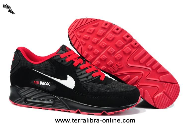 hot sale online 66b96 2164c Black and Red Nike Air Max 90 Hyperfuse Womens Trainers