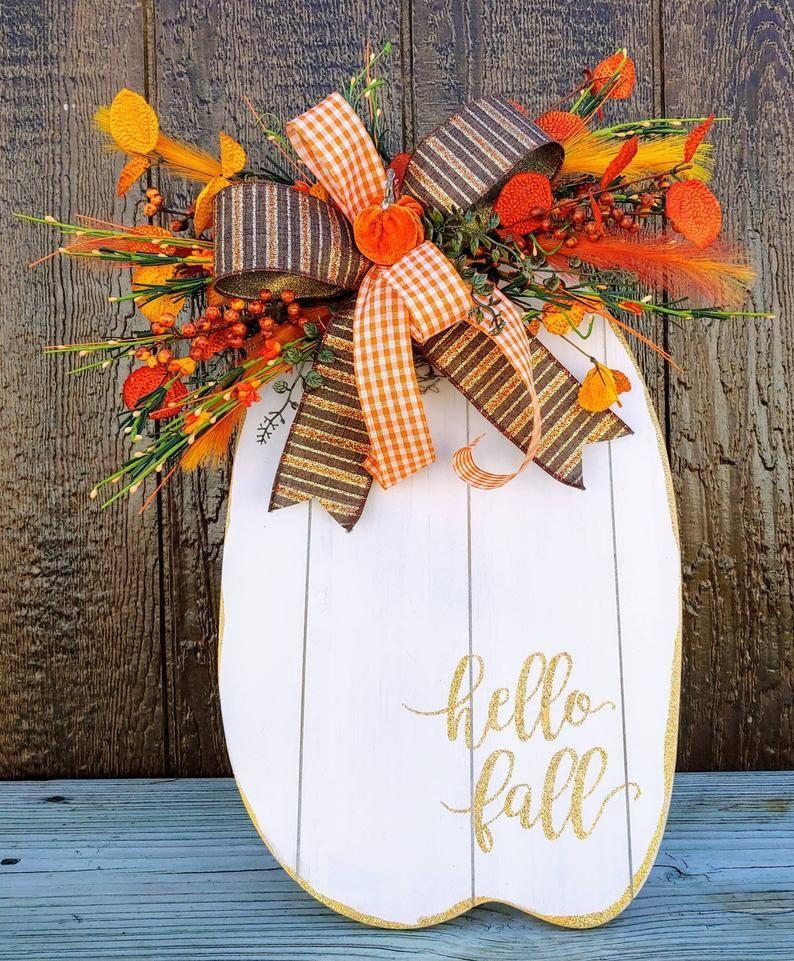 Fall Pumpkin Decor, Rustic Pumpkin Centerpiece, Farmhouse Harvest decor, Fall Porch Decor Decoration, Autumn Porch Decor, Harvest Decor