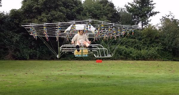Video of the Day: Guy Builds Crazy Flying Machine Using 54 Drone Propellers