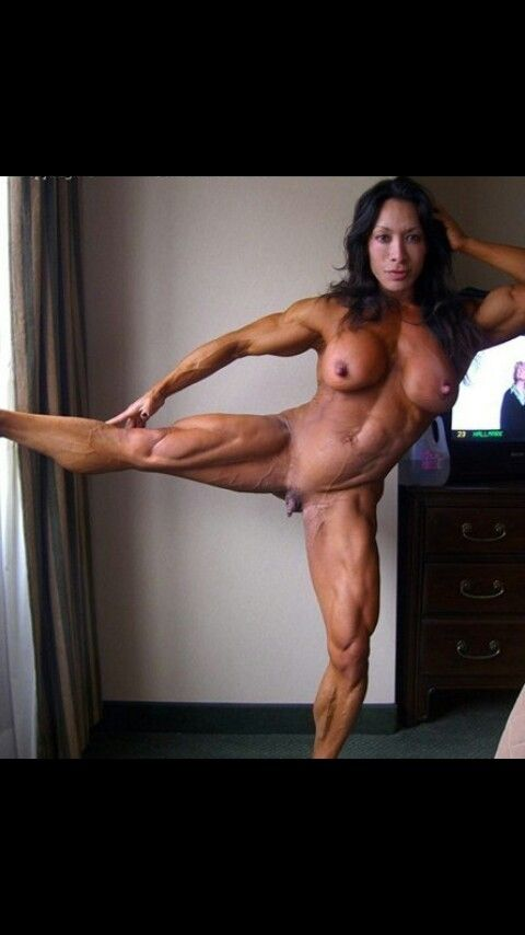 Nude female weight lifting