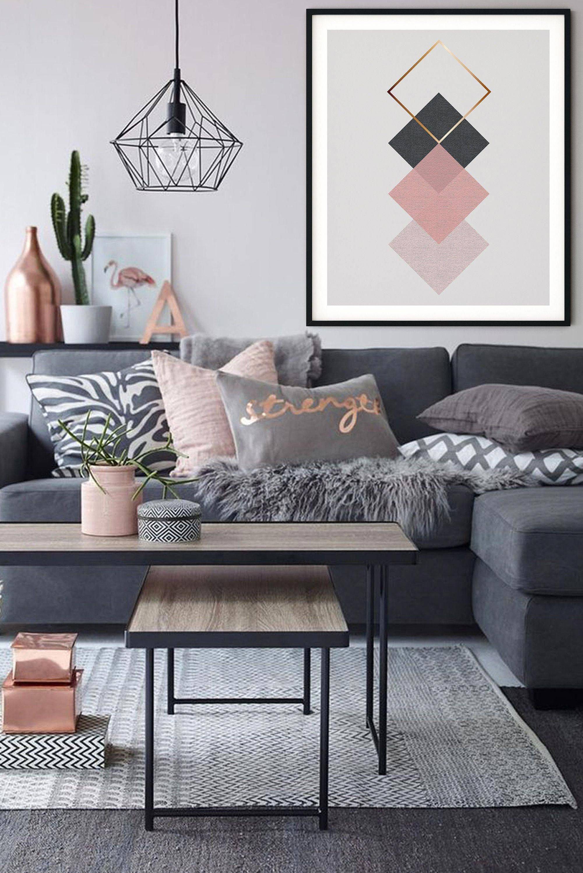 Pink And Grey With Bronze Accents Pink Can Be Modern And Fresh Use This Print To Introduce Perfect Living Room Decor Living Room Decor Tips Living Room Decor Bronze living room decor