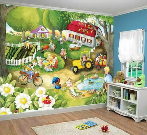 Funny Farm Wall Mural For Kids Bedroom Decor Childrens Wall Murals Kids Room Paint Kids Bedroom Decor