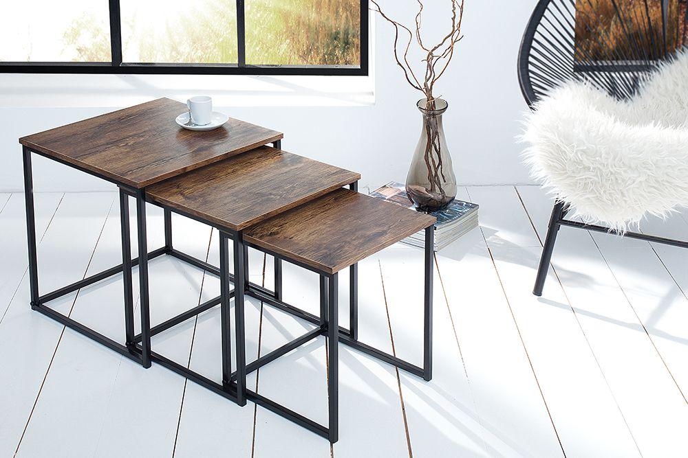 Design Beistelltisch 3er Set FUSION Vintage Look schwarz - wohnzimmer schwarz weiss holz