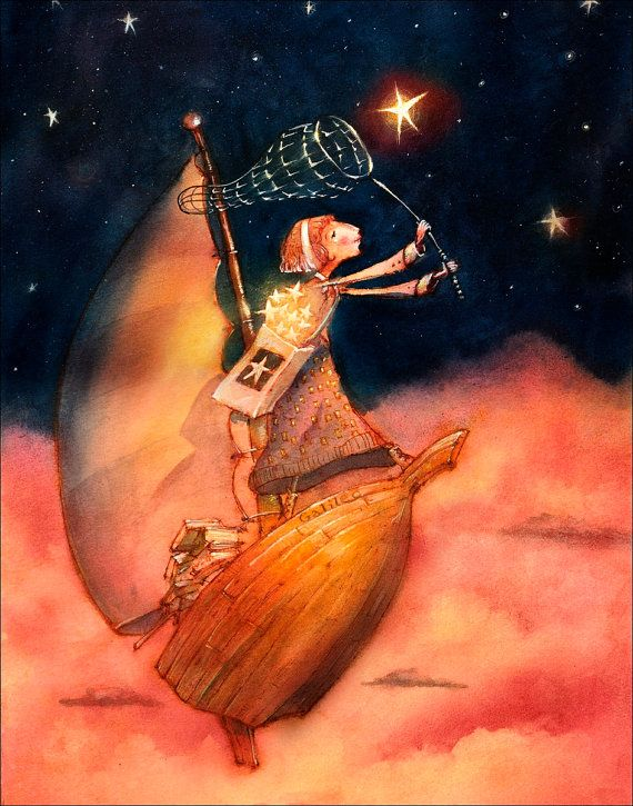 Girl on a boat catching stars. Art print / illustration / wall art / watercolor painting / wall decor. By Lee White.