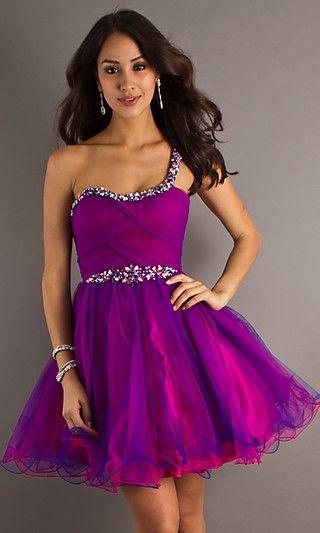 Kaci promotion dress ideas...Short One Shoulder Prom Dress by Dave ...