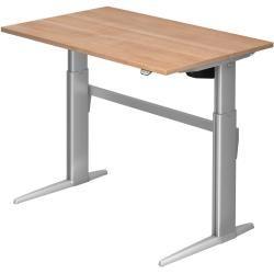 Sitz-Steh-Schreibtisch elektrisch Xe12 120x80cm Nussbaum Gestellfarbe: Silber HammerbacherHammerbach