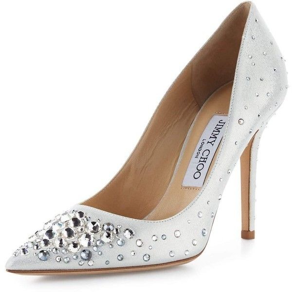 07e8d9817ee1 Jimmy Choo Abel Crystal Pointed-Toe Pump (67,045 INR) ❤ liked on Polyvore  featuring shoes, pumps, white metallic, white pointy-toe pumps, metallic  pointed ...