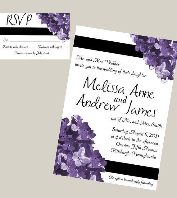 Image detail for -Purple Hydrangea Printable Wedding Invitation and RSVP Set – DIY ...