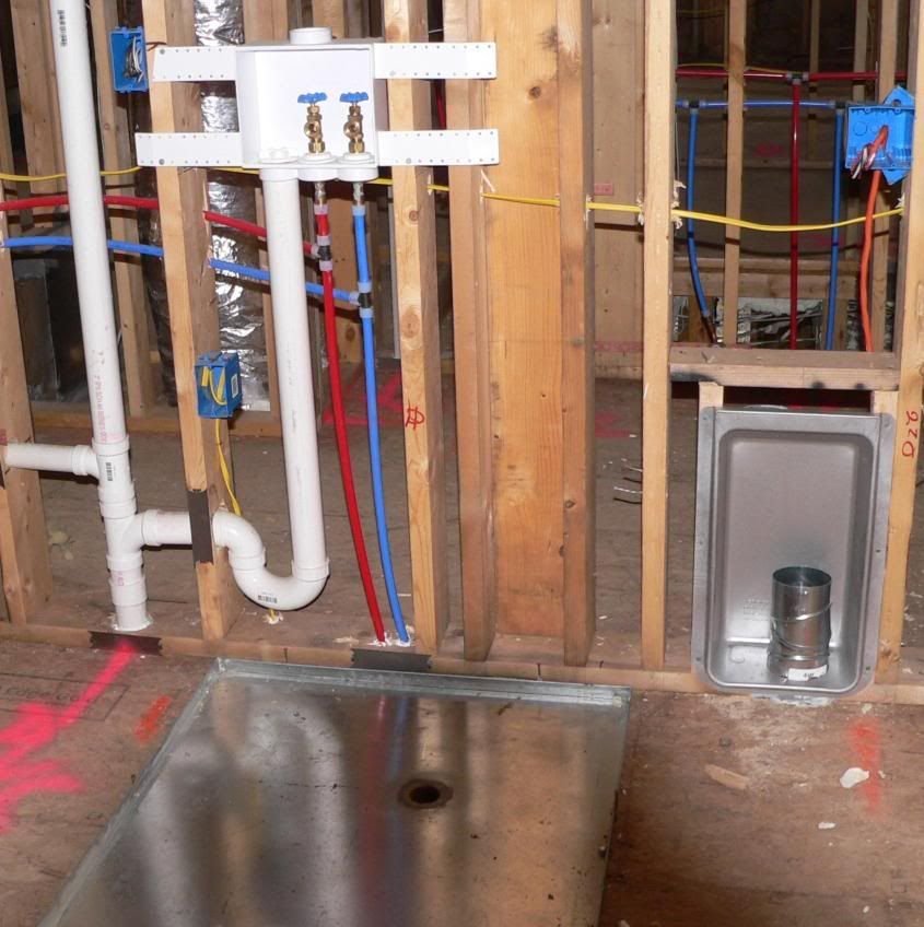 Wall Recessed Laundry Feeddrain Plumbing Lines And
