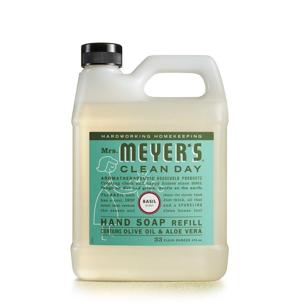 Mrs Meyer S Basil Scented Liquid Hand Soap Refill 33 Fl Oz Liquid Hand Soap Soap Basil Hand Soap