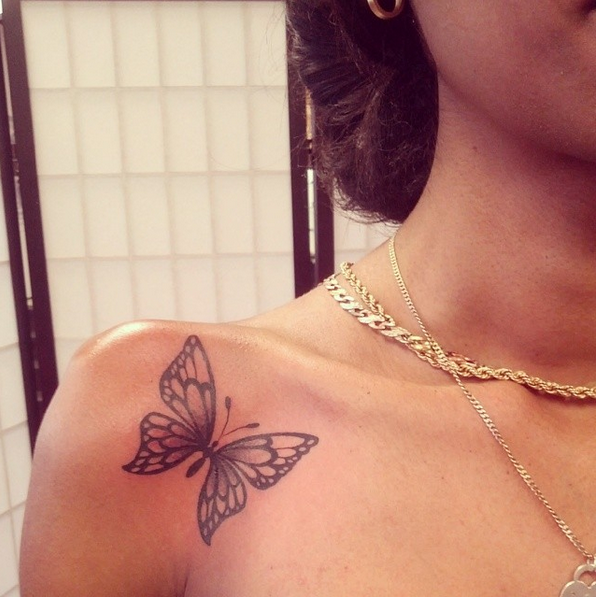 Photo of Front shoulder – butterfly tattoo                                               …
