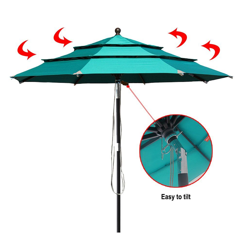 Elite Shade 9Ft Market Umbrella Patio Outdoor Table Umbrella 3 Layers with VentilationBonus weatherproof Cover Turquoise * Check out the image by visiting ...  sc 1 st  Pinterest & Elite Shade 9Ft Market Umbrella Patio Outdoor Table Umbrella 3 ...