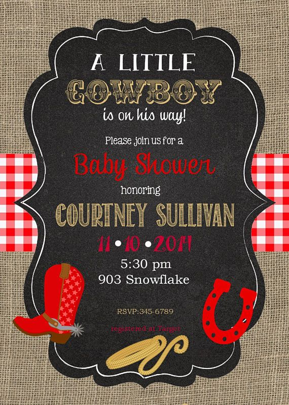 12 Cowboy Baby Shower Invitations With Envelopes Burlap