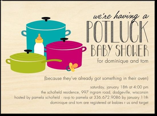 Potluck Shower Great For Work Friends Baby Shower Baby Shower