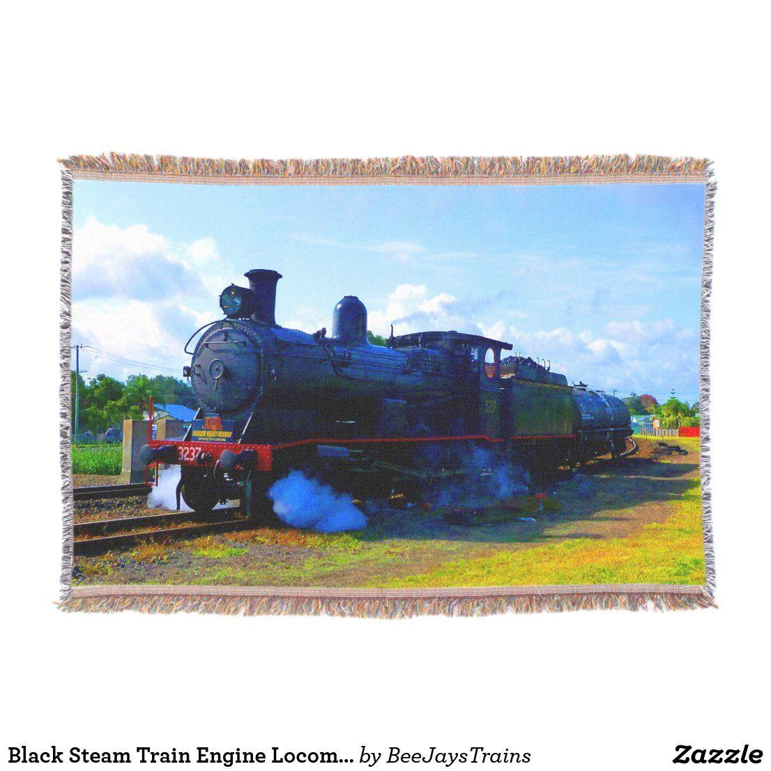 Black Steam Train Engine Locomotive Railroad Throw Blanket Zazzle Com Train Engines Steam Trains Locomotive
