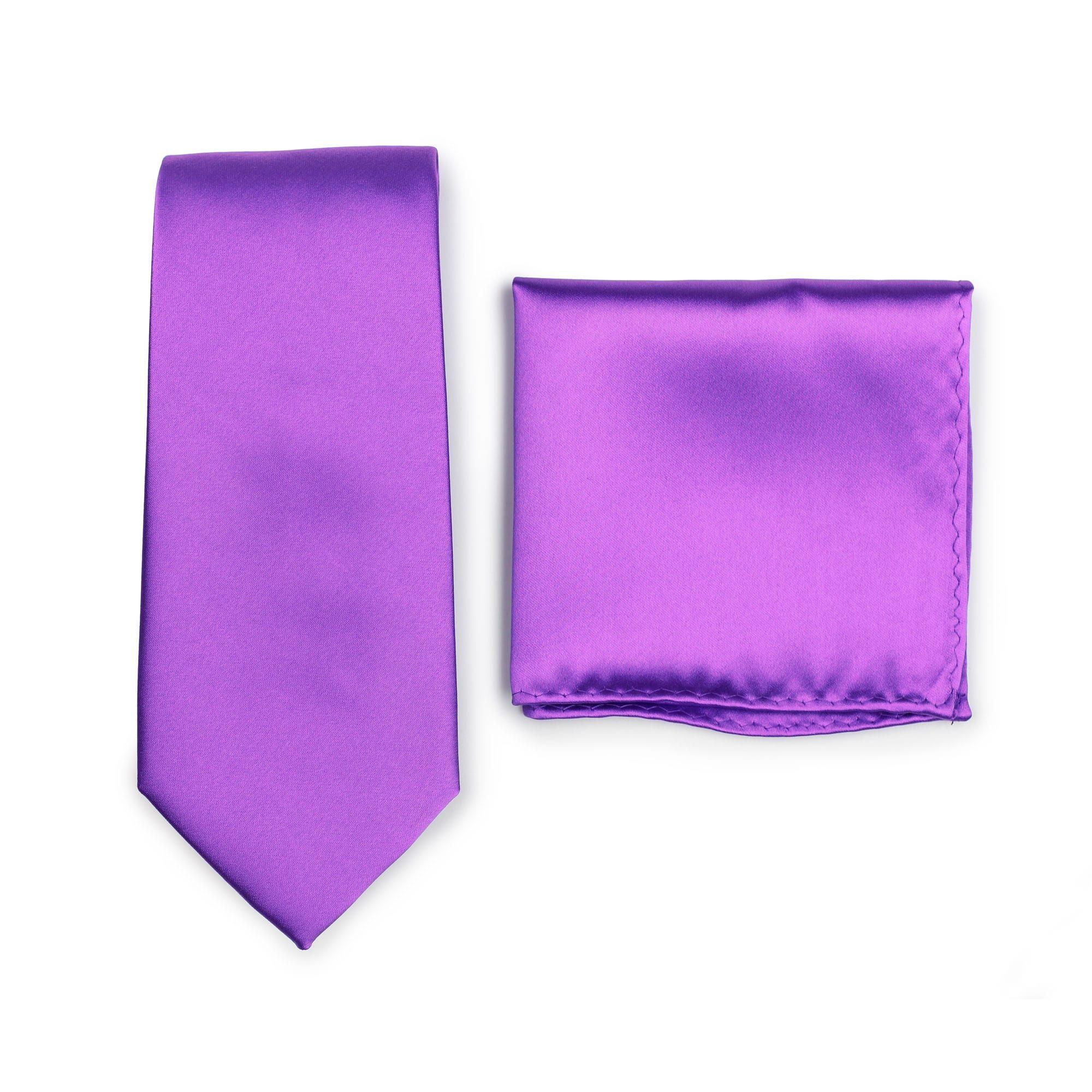 da04122275dc Solid bright purple necktie and matching pocket square | Necktie + ...