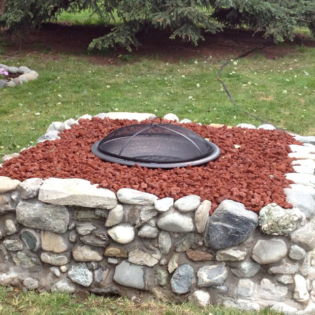 Fire pit made from field stone and lava rocks! | Fire pit ... on Rock And Stone Outdoor Living id=59426