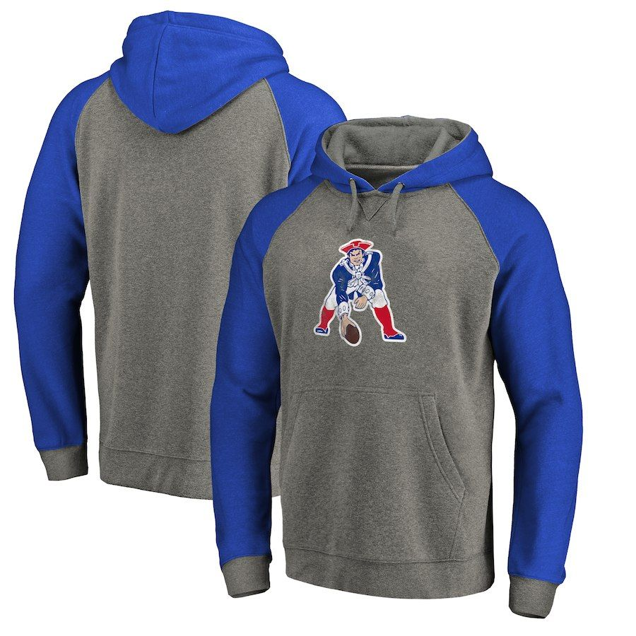 Men s New England Patriots NFL Pro Line by Fanatics Branded Gray Royal Throwback  Logo Big   Tall Tri-Blend Raglan Pullover Hoodie 5c17379cd