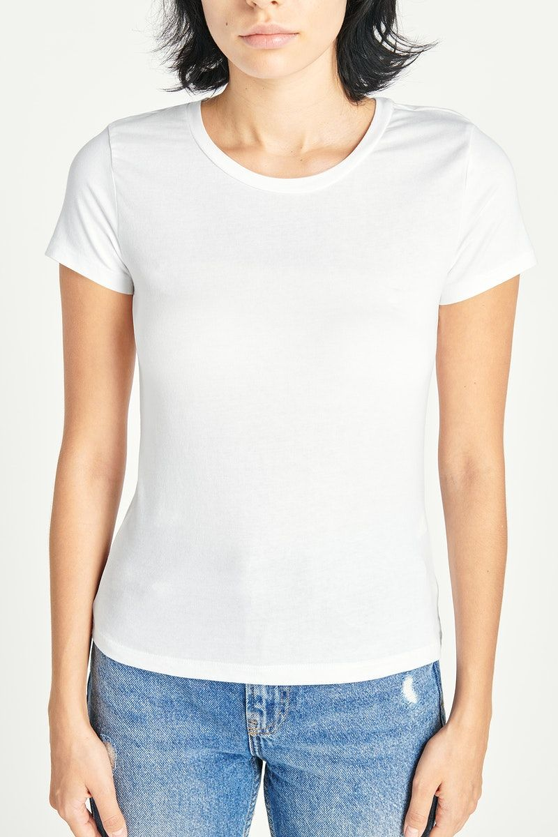 Download Download Premium Illustration Of Woman In A White T Shirt Mockup 2480648 Clothing Mockup Shirt Mockup White Shirts Women