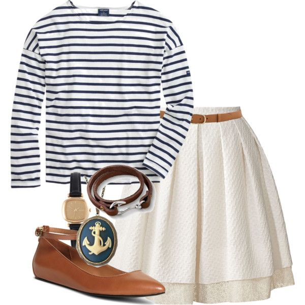 A fashion look from March 2015 featuring long sleeve shirts, pleated skirt and ballerina shoes. Browse and shop related looks.
