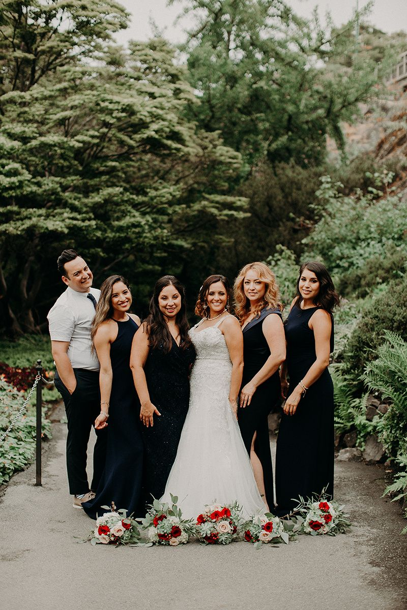 Navy Blue Bridesmaids All Different Dresses Same Color Man Of Honor Garden Wedding Outdoor Wedding Pa Navy Blue Bridesmaids Wedding Dresses Rainy Wedding