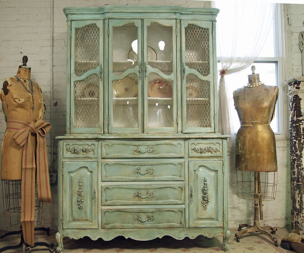 Vintage Painted Cottage Chic Shabby Aqua China Cabinet with ...