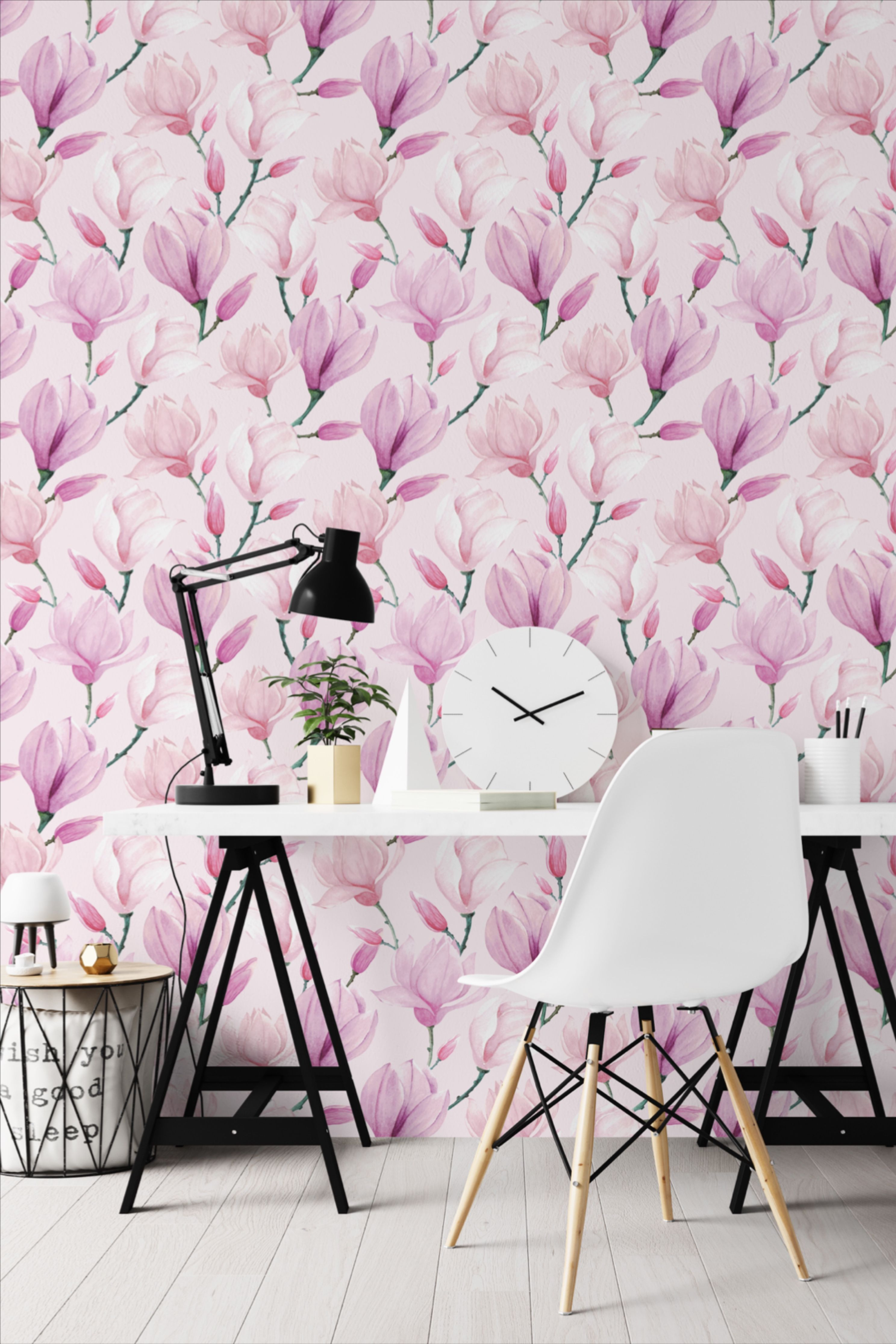 Magnolia Pink Wallpaper Peel And Stick Floral Watercolor Etsy Pink Floral Wallpaper Pink Interiors Design Pink Wallpaper