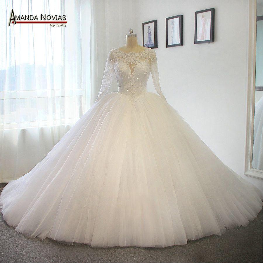 Long Train Wedding Dress Luxury Puffy Ball Gown Princess Wedding ...