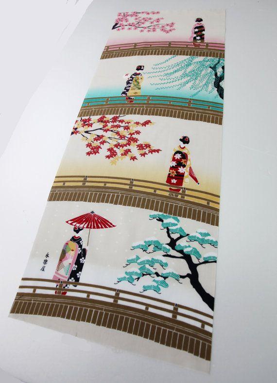 quilt fabric japanese curtain fabric kawaii fabric wall decoration Japanese Tenugui cotton fabric carp in a river