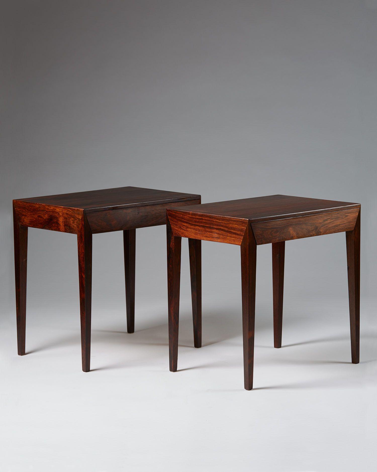 Pair of bedside tables designed by Severin Hansen for Haslev Möbler