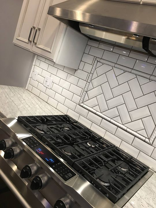Commercial Range And Hood Subway Tile Backsplash With Herringbone Inlay