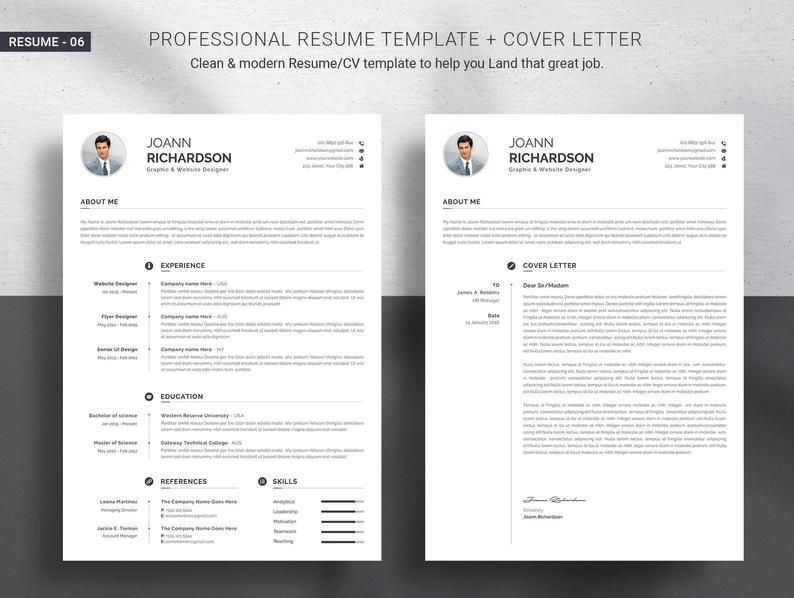 Professional Resume Template Modern And Creative Resume Etsy Resume Template Resume Template Professional Resume Template Word