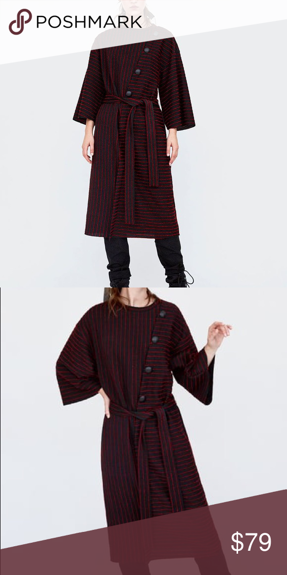 bbf5aede209 Zara Striped Dress With On Details Ons Are Trend