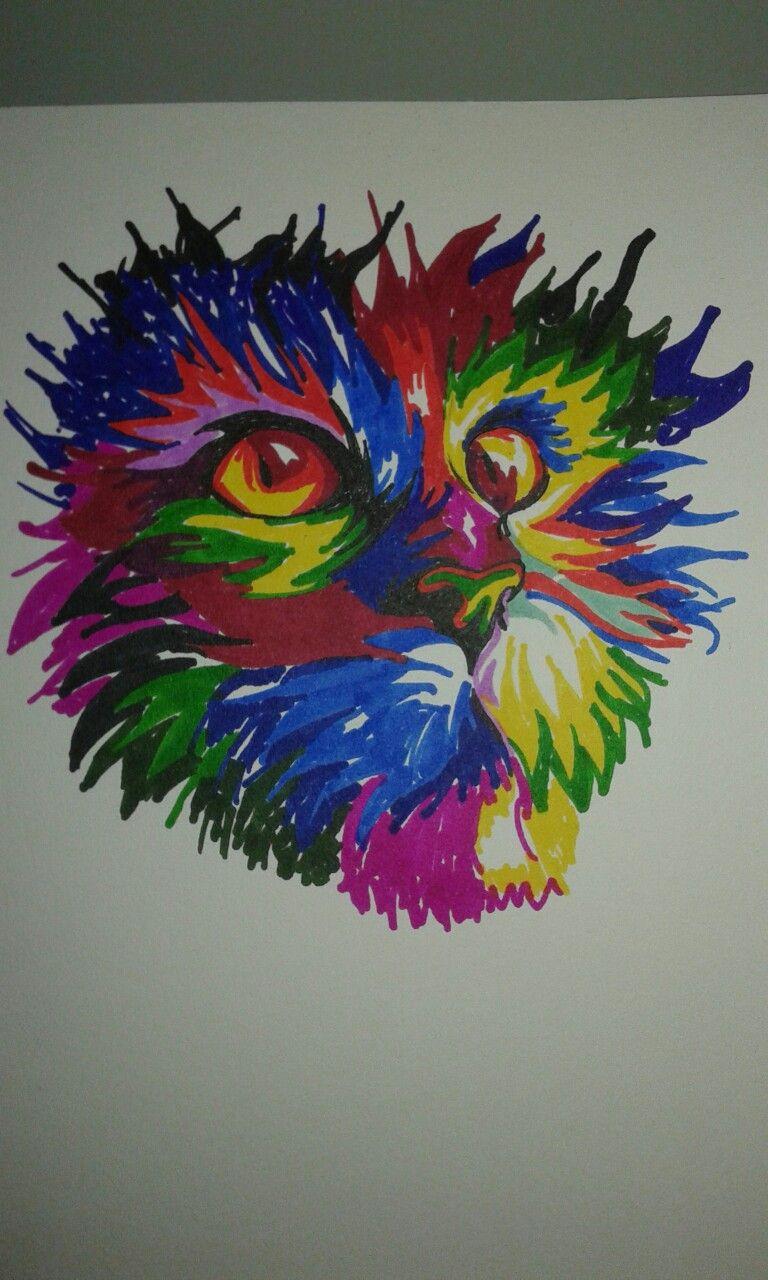Cat Con Marcadores De Colores Arte Con Marcadores Dibujos Con Marcadores Marcadores De Colores